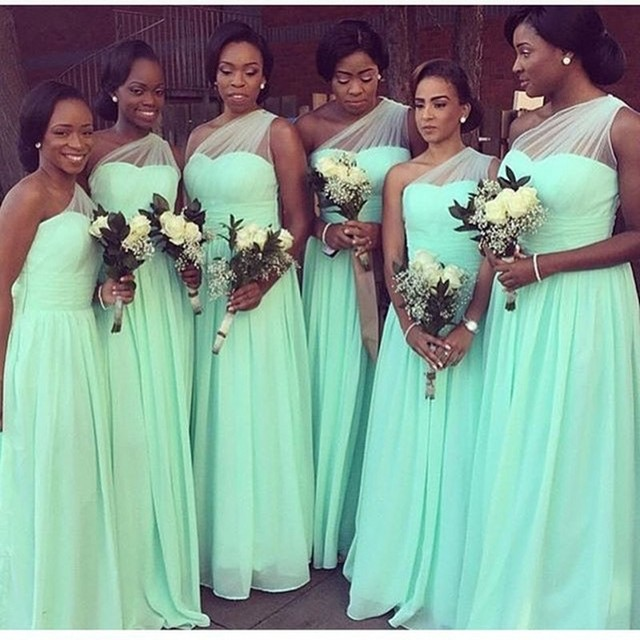 Mint Green One Shoulder Navy Blue Peach Ivory Champagne Silver