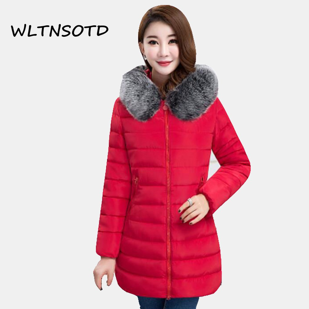 2017 New Winter cotton coat women long large size Slim thick jacket Female fashion Fur collar Hooded warm Solid Parkas 2017 winter new coat womens long slim hooded large fur collar thick cotton warm jacket for female zipper pattern epaulet padded