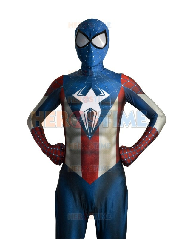 Captain America and Spider-Man Hybrid cosplay costume 3d print the newest Spiderman Superhero Bodysuit Zentai Spider Morph Suit