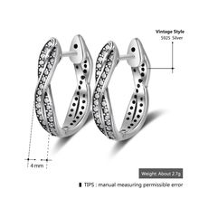 Vintage Style Real Pure 925 Sterling Silver Cubic Zirconia Hoop Earrings Twisted Earrings