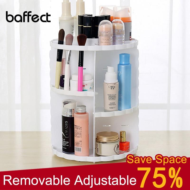 Fashion 360-degree Rotating Makeup Organizer Box Adjustable Storage Holder Jewelry Makeup Lipstick Brush Cosmetic Storage Box