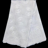 Free shipping (5yards/pc) pure white African cotton lace fabric with fine work embroidery for wedding party dress CWS51