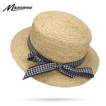 Houndstooth Arco Chapéus De Palha Das Mulheres Aba Larga chapéu de Palha  Panamá Chapéu Fedora Chapéu de Sol da praia de Altíssim. 7effc8babbc