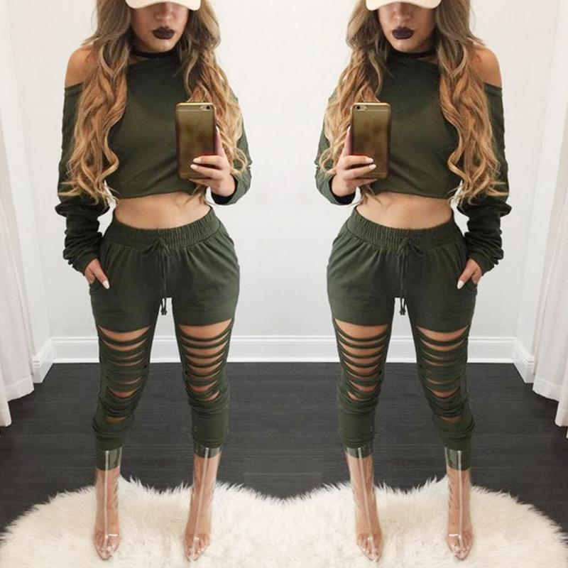 Women Sexy Two Piece Set Tracksuit Top And hole Pants Ladies Casual off shoulder blouse Suits Sweatsuits For Women Spring Autumn 4