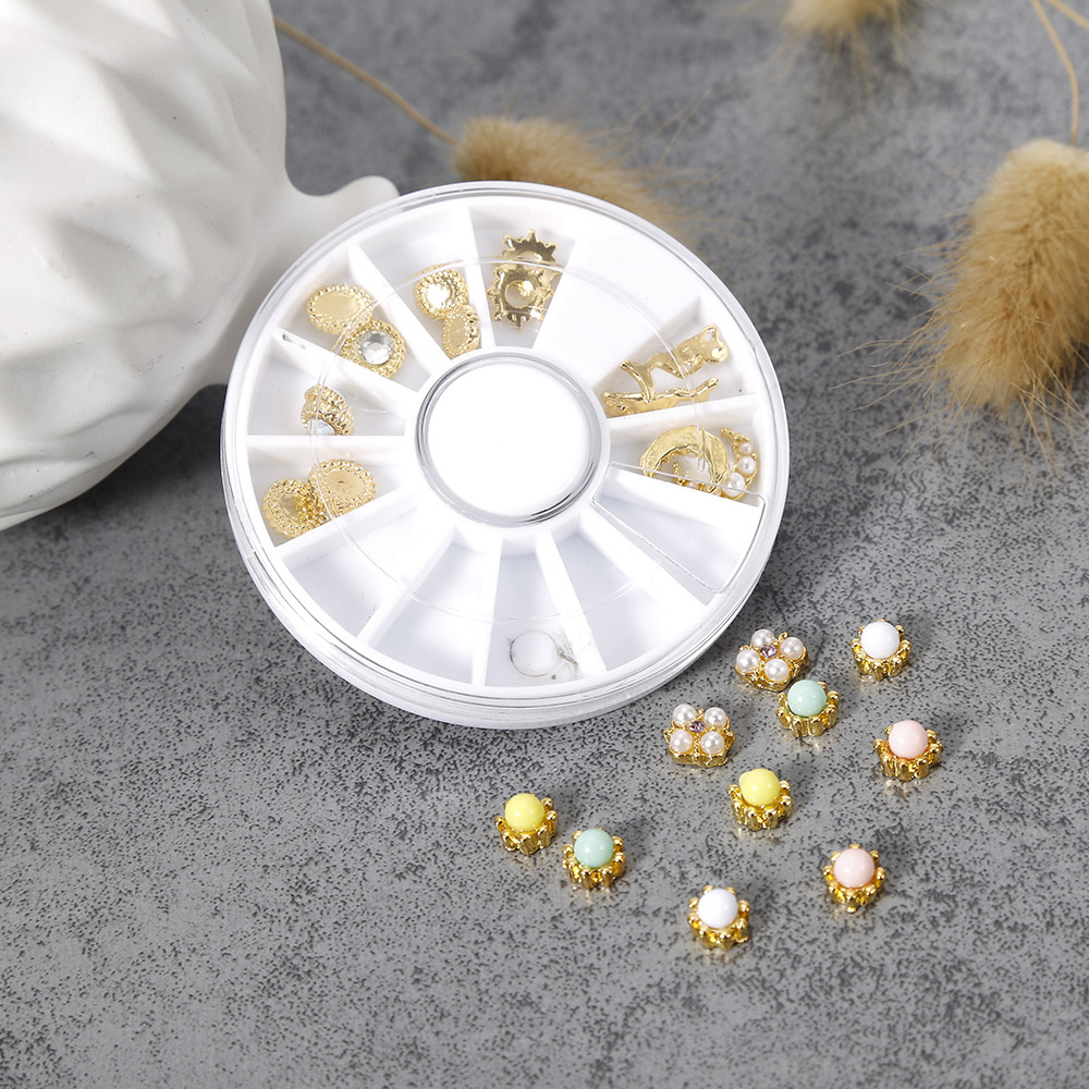 High Quality24Pcs 12 Mixed Style 3D Nail Art Decorations Various Shape Beads Rhinestones For Women Nail Beauty Manicure