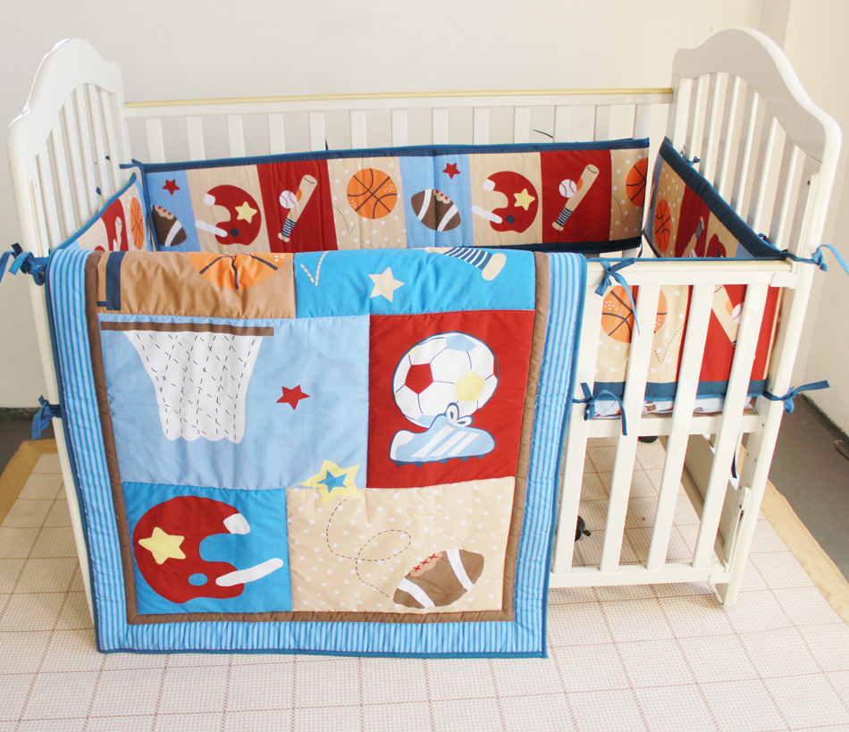 3PCS embroidery Sports Baby Cot Bedding kit berço Embroidery Crib Bedding Set Quilt ,include(bumper+duvet+bed cover)