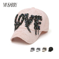 New Brand Baseball Cap Women Snapback Caps Hip Hop Cool Letter Hat Crystal Decor Wrinkle Design