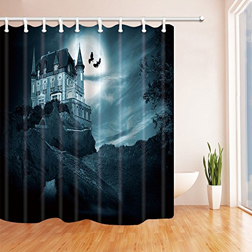 Ancient castle Shower Curtain Bedroom Waterproof Fabric /& 12Hooks 71*71inch Hot