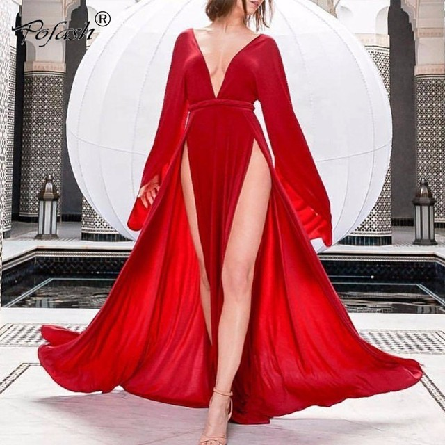 1d666d1992 US $33.38 10% OFF|POFASH New Sexy Women Dress Summer 2018 Bodycon Long  Sleeve Red High Split Bodycon Dress Evening Party Long Dresses Vestidos-in  ...
