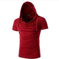2016 New Summer Men Fashion Tops Tees Hooded Short Sleeve T Shirt Plus Size M 3XL