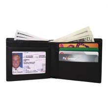 Black Brown Men Hack-Proof Security Block Wallet Soft Leather China Rfid Safe Wallet Credit Card Holder with Gift Box