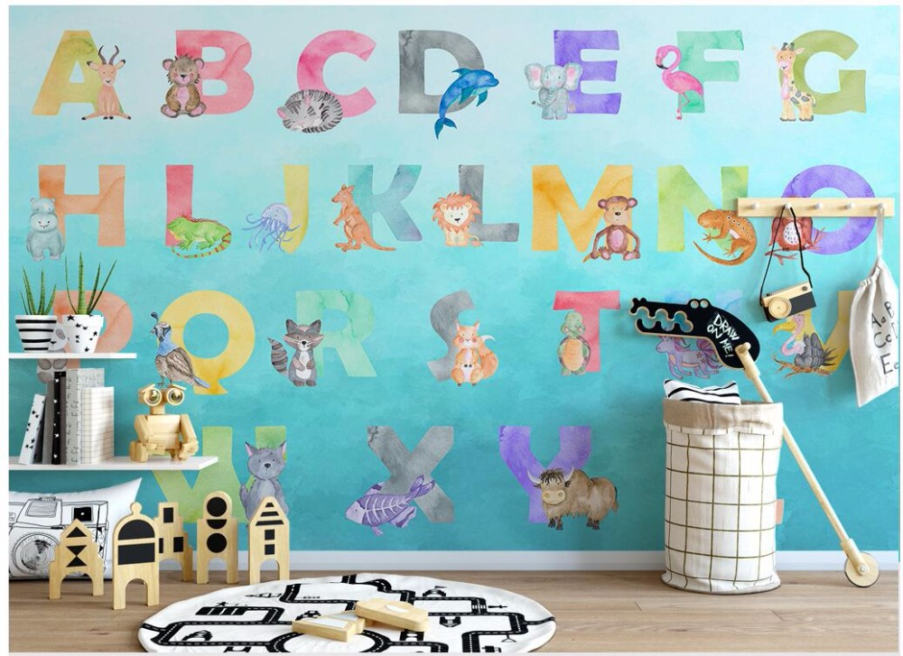 Custom mural 3d photo wallpaper Cartoon animal 26 letters themed children room background 3d wall murals wallpaper for walls 3 d mural children room large murals kindergarten background wall 3d wallpaper murals seamless 3d 3d wallpaper space exploration