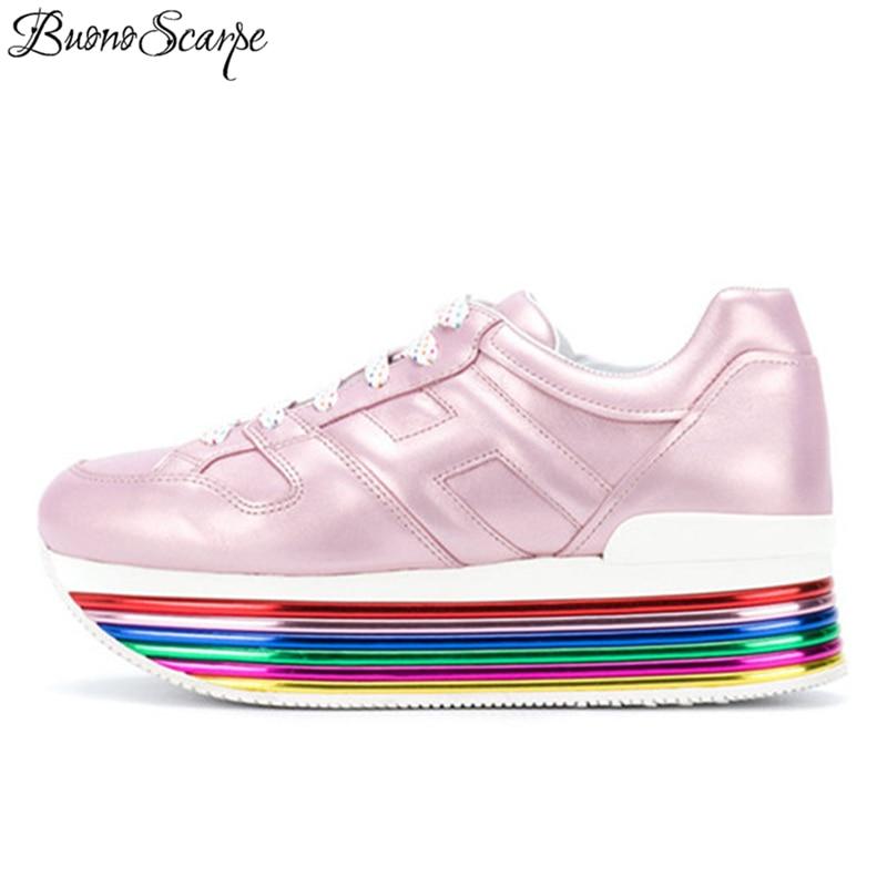 Plattform Heels Dicken Boden Casual Schuhe Regenbogen Bunte Marke Design Damen Turnschuhe Echtem Leder Atmungs Einzelne Schuhe-in Vulkanisierte Damenschuhe aus Schuhe bei  Gruppe 1