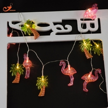 Coconut Tree Light  Palm Tree String lights Flamingo Fairy Holiday  10LED  tropical lighting Battery Powered  Party 3V AA indoor