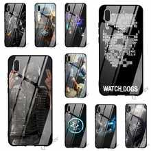 Cetak Watch Dogs Kunci Kaca Tempered Ponsel Cover untuk HUAWEI Mate 20 Case P Smart P20 Pro 10 7A Y6 y9 Honor 9 P10 Lite TPU(China)