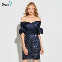 Dressv, темно-синее коктейльное платье, элегантное, с открытыми плечами, с блестками, до колена, на молнии, свадебное, вечернее платье, коктейльные платья