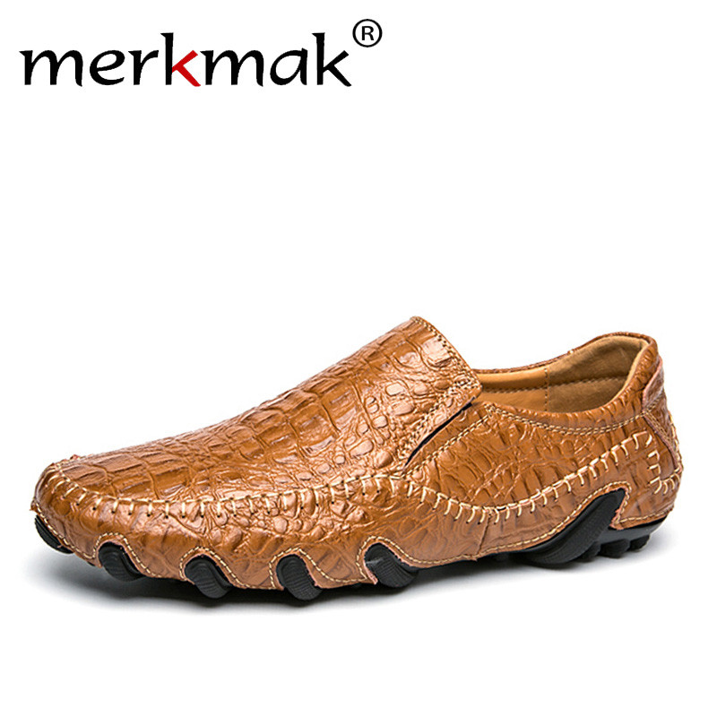 d86bba6e5701 Merkmak Luxury Genuine Leather Men Shoes Big Size Casual Men Loafers Flats  Shoes Moccasins Men s Footwear