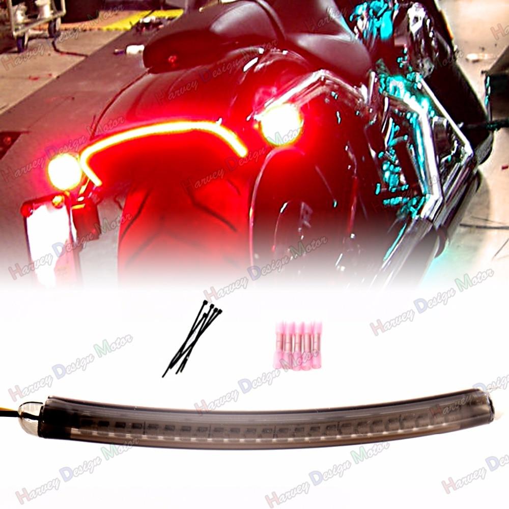 LED Fender Running Brake Light Turn Signal Smoked Len Kits For Harley 13 14 15 16