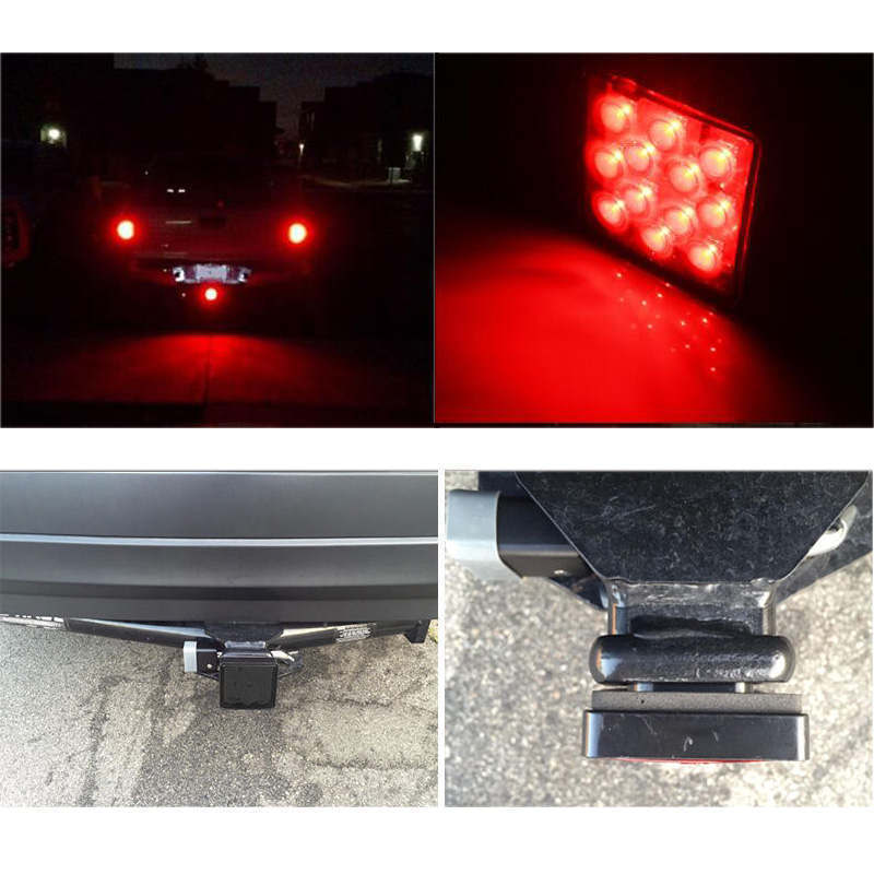 Keyecu Smoked Red Trailer Hitch Receiver Cover with 12LED Brake Leds Light Tube Cover letting other drivers know when stop turn