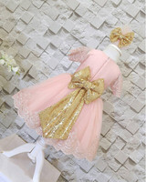 Pink Zipper Back Flower Girl Dresses With Bow Ball Gown Toddler Party Birthday Frocks For Prom