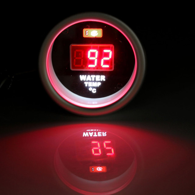12V 52mm Red Digital Water Temperature Gauge Display With Temp Sensor+Fitting Kit
