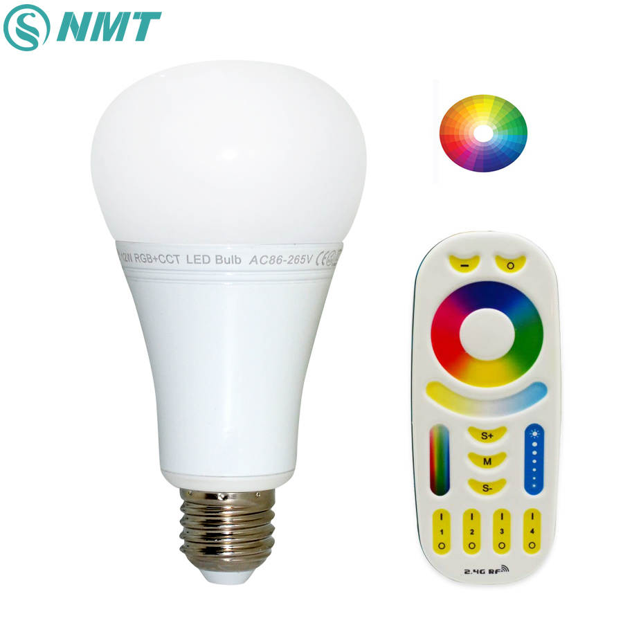 12W Mi Light LED Bulb E27 Dimmable LED Bulb Light RGB + Warm White + White (RGB+CCT) Indoor Decoration AC85-265V LED Lamp e27 led rgb magic lamp lamp 6w ac85 265v 220v rgb led light spotlight ir afstandsbediening controle and white white