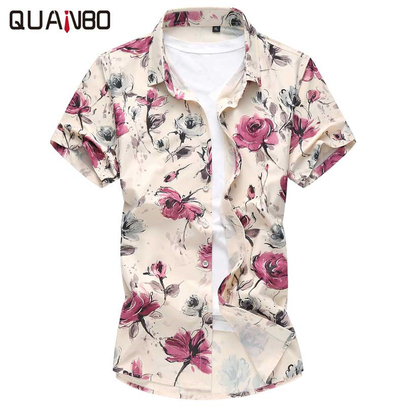 Floral Hawaiian shirt Fashion Stretch Short sleeve Shirt