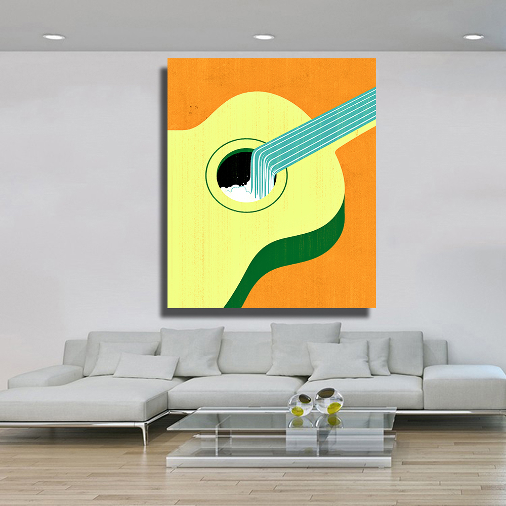 QKART Posters Pop Art Yellow Guitar Water Surrealism Artwork Oil ...