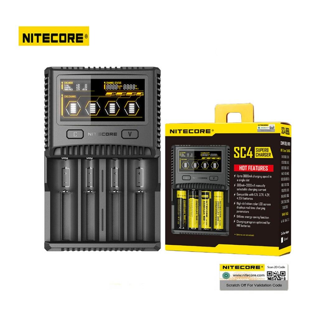 NITECORE SC4 Intelligente Schneller Lade Superb Ladegerät mit 4 Slots 6A Gesamtleistung Kompatibel IMR 18650 14450 16340 AA Batterie