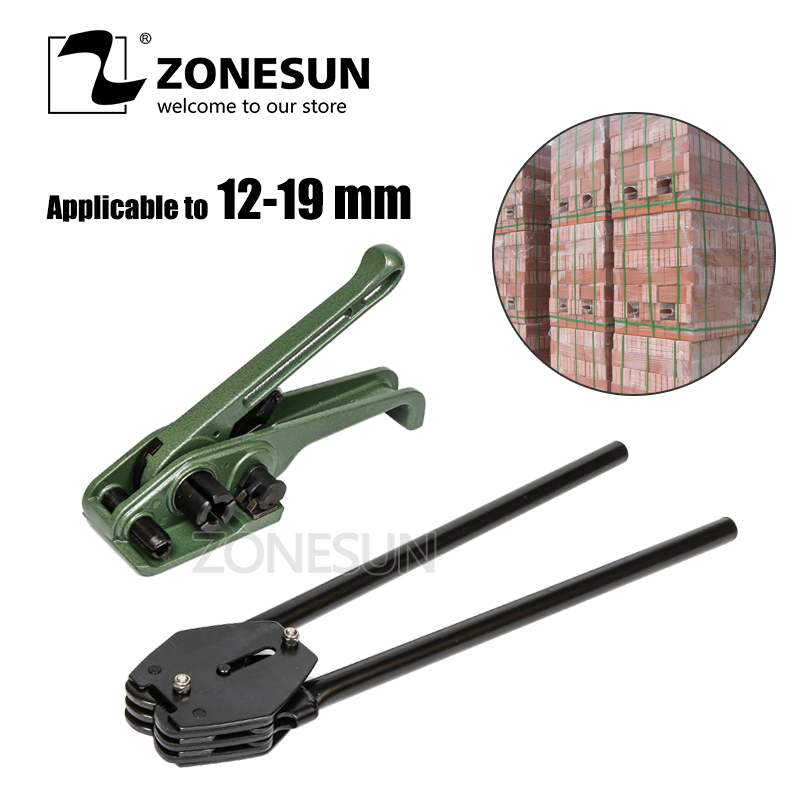 ZONESUN 12 16 19mm Manual Lumber Packing PP PET Strapping Band Tool Machine Strapper Packaging Tool For Paper Carton Box