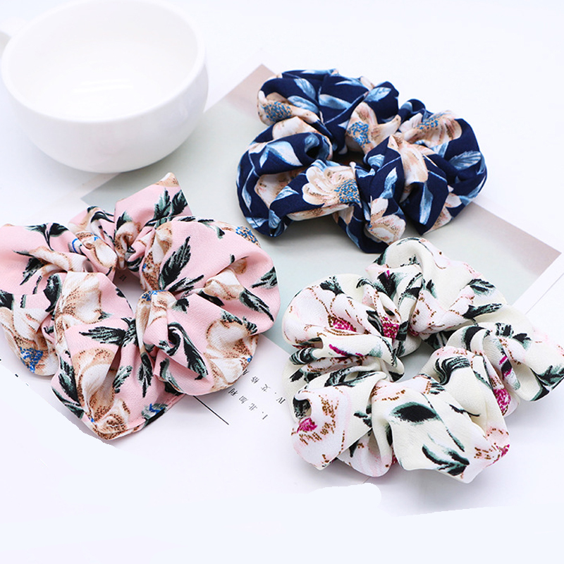 New Spring Flower Scrunchie Ponytail Headband Soft Elastic Hair Ties Summer Turban Floral Hair Bands For Girls Accessories