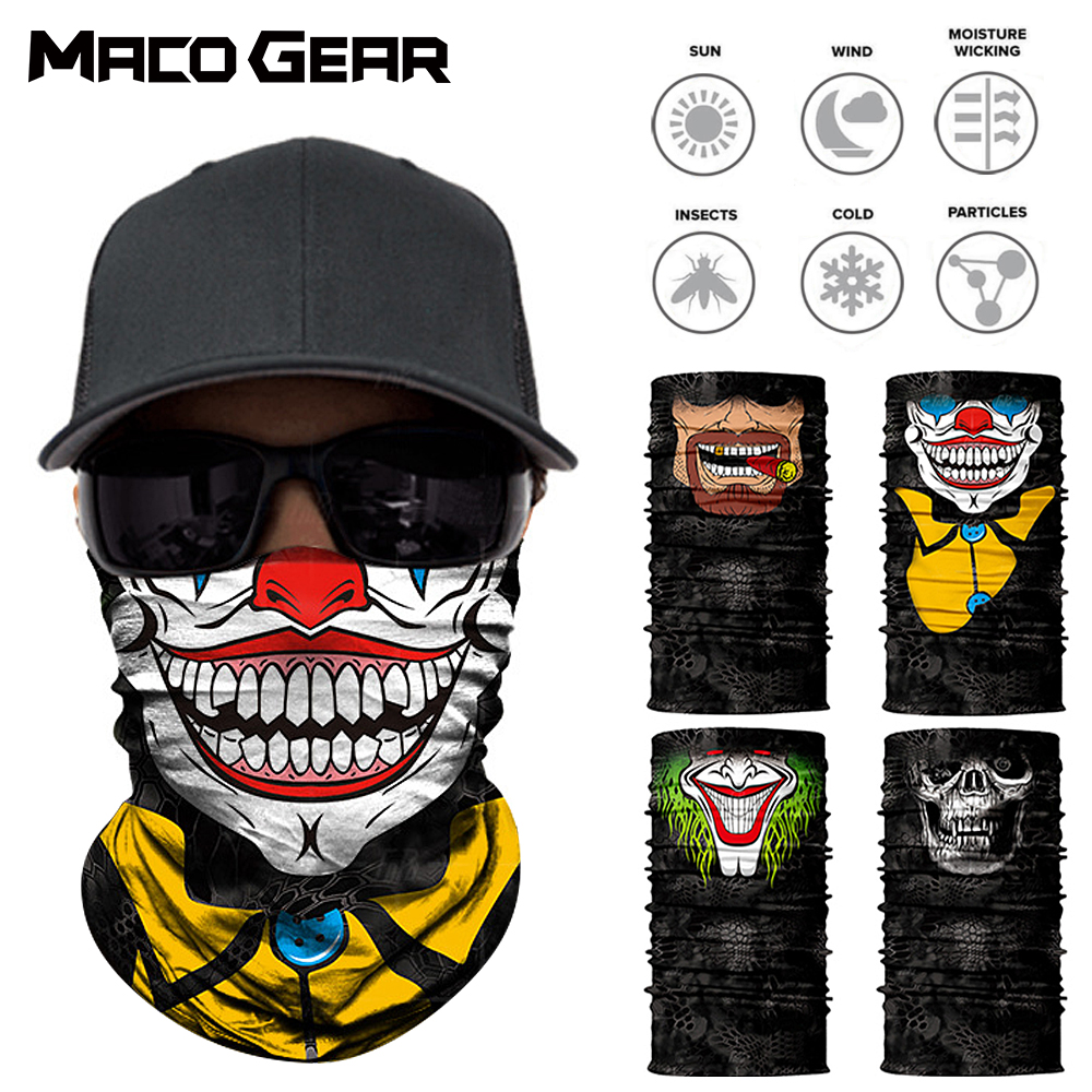 3D Clown Skull Seamless Outdoor Magic Neck Gaiter Face Shield Sport Fishing Cycling Biker Ski Bandana Tube Scarf Men Women Mask