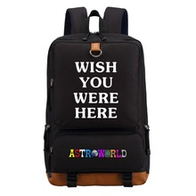 Wishot travis scotts astroworld 배낭 숄더 여행 학교 가방 bookbag for teenagers 남성 여성 캐주얼 노트북 가방