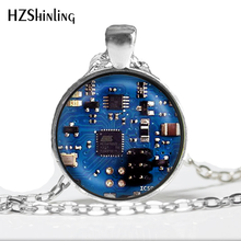 2016 Glass Dome Cabochon Jewelry Blue 2 Circuit Board Art Print Pendant Necklace Charm Gifts for Her or Him Geek Electronics HZ1