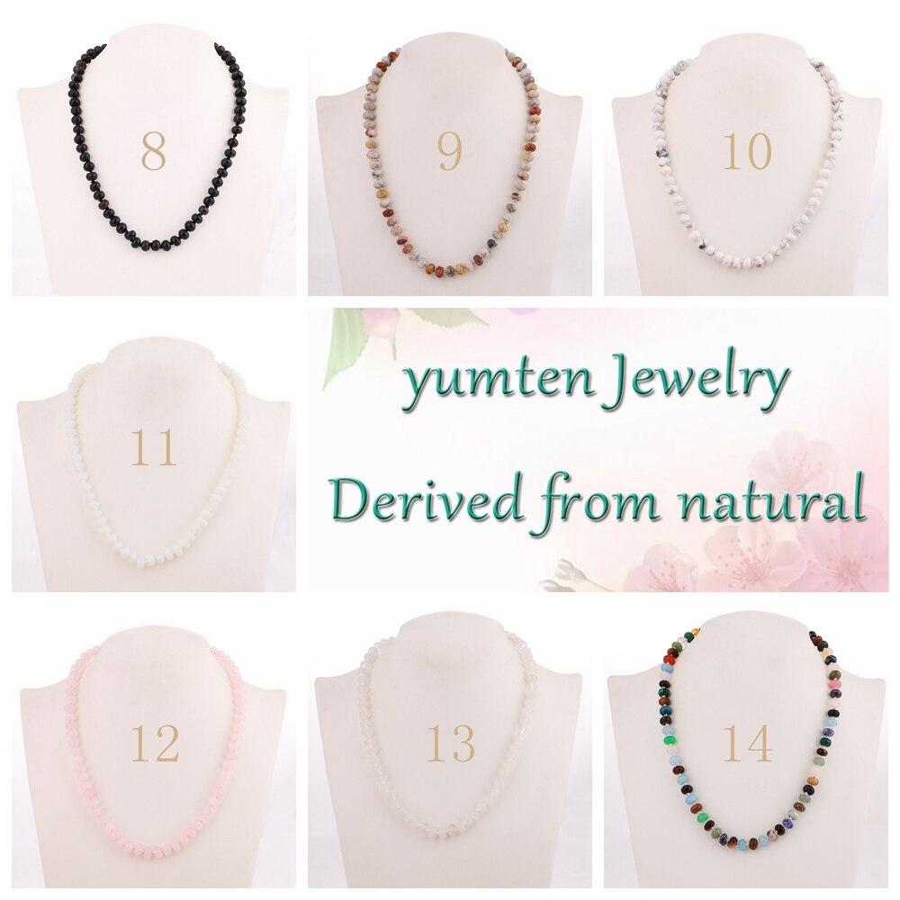 Yumten mujeres rosa collar de cadena corta joyería de piedra natural - Joyas - foto 5