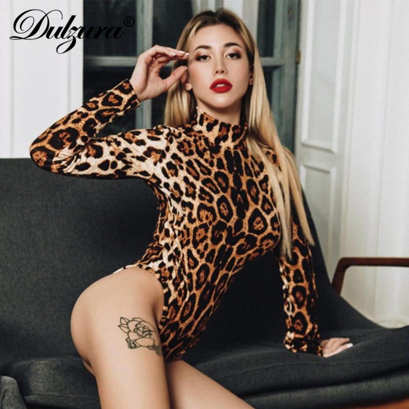 Dulzura Women Bodysuit Leopard Print Sexy One Piece Combinaison Femme Streetwear 2018 Autumn Winter Club Clothes Festival Body
