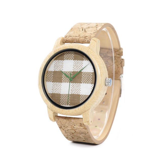 BOBO BIRD WA28 Vintage Round Ladies' Bamboo Wood Quartz Watches With Fabric Dial Women Watches Top Brand Pastoralism Watch Women's Watches