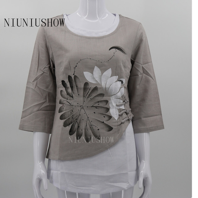 271a0cb03 New Arrival Summer Chinese Style Cotton Linen Women Tang Suit Tops  Traditional Elegant Slim Shirt M L XL XXL XXXL T50