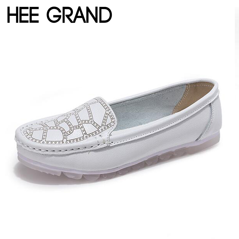 HEE GRAND Women Soft flats Nurse Breathable Shoes Split Leather Women Spring Light Causal Shoes Slip On Flats XWD6517 cresfimix zapatos women cute flat shoes lady spring and summer pu leather flats female casual soft comfortable slip on shoes