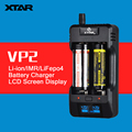 Original VP2 XTAR Cargador de Pilas Usb Cargador Inteligente con Cargador de Coche de la Pantalla LCD para ICR IMR IFR 18650 26650 etc.