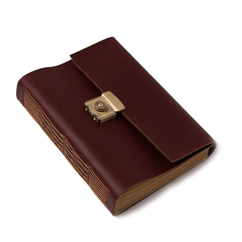 vintage book a5 handmade cowhide password lock diary thick note book 2011607