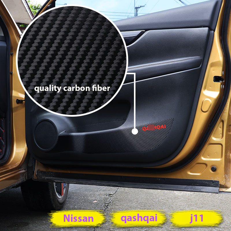 car interior door protector carbon fiber film sticker mat cover for qashqai j11 2016 qashqai. Black Bedroom Furniture Sets. Home Design Ideas