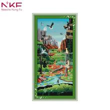 NKF 2018 New Arrival The Promised Land printed unprinted cloth DMC 11CT 14CT  DIY Handmade Cross Stitch Kits Home ddecor Gift