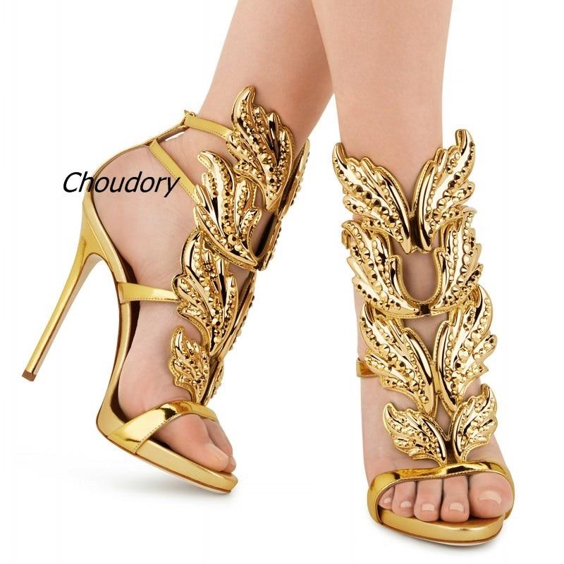 Seksikas tiivad kõrge kontsaga sandaalid läikiv nahast pruudi kullatud lehed gladiaator pulm sandaal kingad suvel kõrged kontsad kontsad