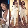 Plus tamaño de Las Mujeres 2016 Nueva Moda Otoño invierno Estilo Pantalones blancos Ajustado Traje 2 Unidades Trajes Pantalones Ropa de Mujer conjunto