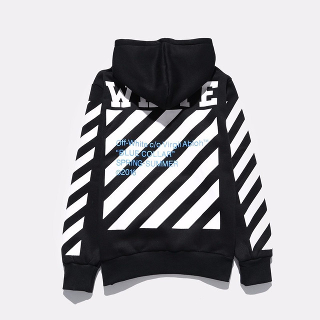Virgil Abloh Blue Collar OFF WHITE Hoodie Spring Autumn Fleece Cotton Pullover White Black Striped Tracksuit Men OFF Sweatshirts
