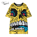 European Fashion women punk style rock skull print Long T-Shirts sexy tops tee tail T shirt camisetas mujer woman clothes TS-042