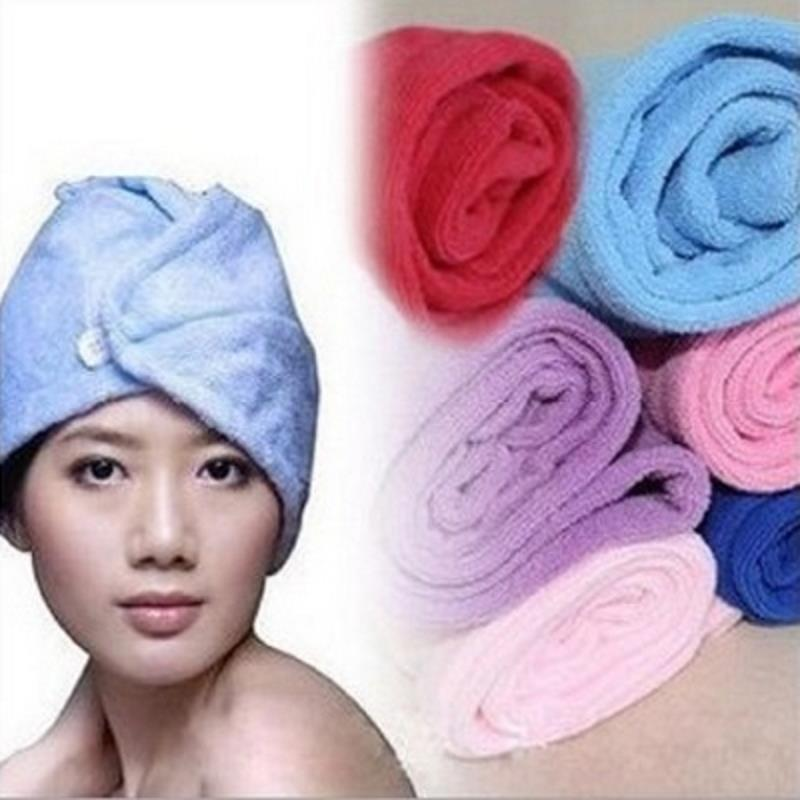 Women Quickly Drying Hair Towel Beach Super Absorbent Turban Random Color Bathroom Accessories Bath Shower Bathing Cap Hat Spa