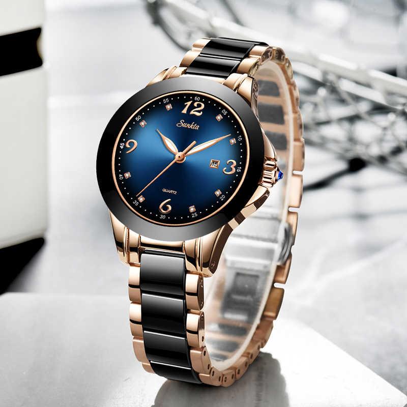 SUNKTA модные женские часы розовые, золотые, женские часы-браслет Reloj Mujer 2019New креативные водонепроницаемые кварцевые часы для женщин