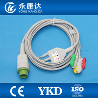 One piece 12Pin 3leads ECG cable and leadwires with Clip for Bruker,IEC,,CE&ISO13485